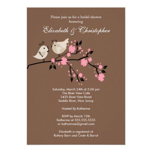 Modern love birds couples bridal shower invitation 5 x 7 for Wedding couples shower invitations