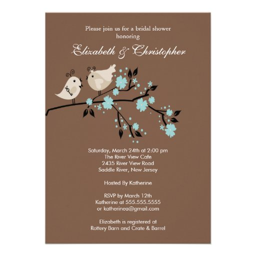 Modern Love Birds Couples Bridal Shower Invitation 5 X 7 Invitation Card