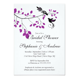 Modern Love Birds Couples Bridal Shower Invitation