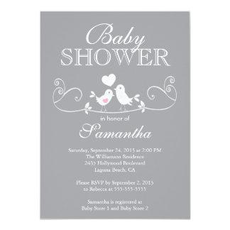 Modern Love Birds Girls Baby Shower Invitation