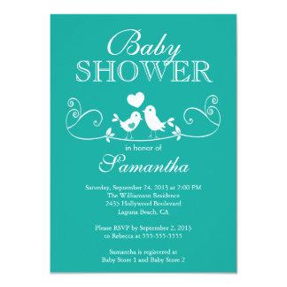 Modern Love Birds Neutral Baby Shower Invitation
