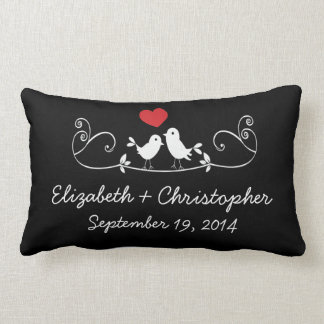 Modern Love Birds Personalized Throw Pillow