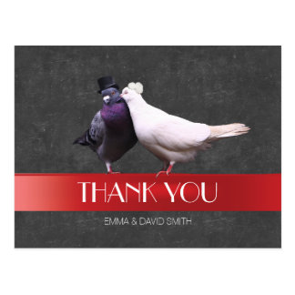 Modern Love Birds Red Ribbon Chalkboard Thank You Postcard