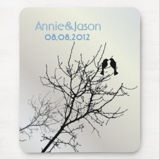 modern love birds rustic country wedding mouse pad