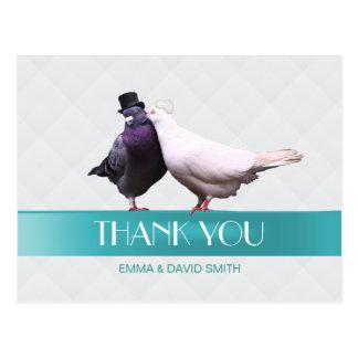 Modern Love Birds Tiffany Blue Ribbon Thank You Postcard