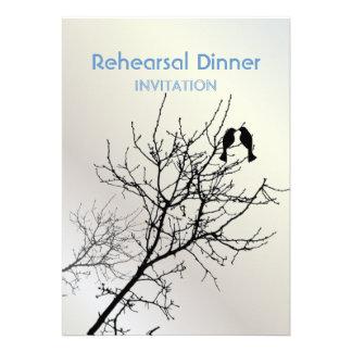Modern Love Birds Tree Rehearsal Dinner Invitation
