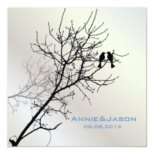 Modern Love Birds Tree Wedding Invitation | Zazzle