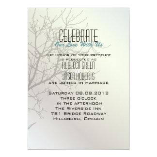 Modern Love Birds Tree white  Wedding Invitations