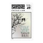 Modern Love Birds Tree white Wedding SaveTheDate Postage Stamp