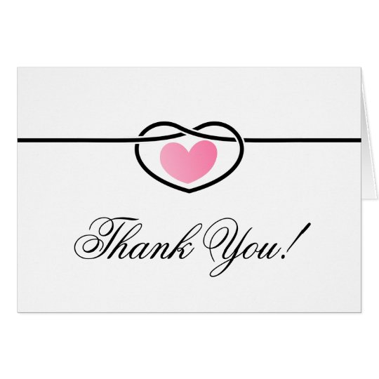 modern love heart knot wedding thank you note card