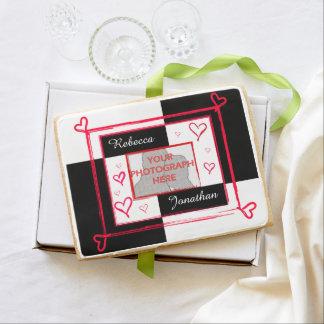 modern love heart photo frame jumbo cookie