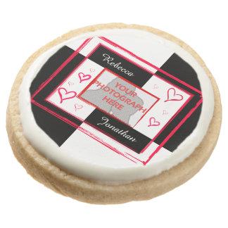 modern love heart photo frame round sugar cookie