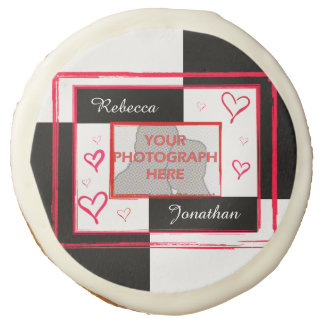 modern love heart photo frame sugar cookie