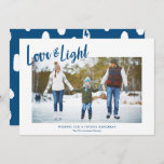 """Modern Love & Light Blue Hanukkah Photo Holiday Card<br><div class=""""desc"""">A simple, stylish Hanukkah photo card design, featuring modern typography reading """"Love & Light"""" in blue over a white background. Modern styled text templates are included for personalization, as well as a splotch pattern in white and blue on the back of the card. For design or product inquiries please feel...</div>"""