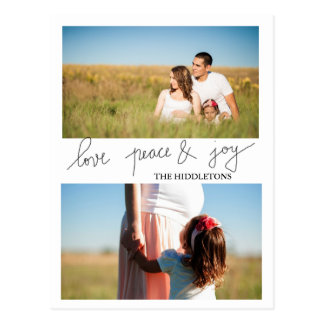 Modern Love Peace And Joy Holiday Two Photo Postcard