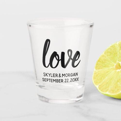 Modern Love Script Chic Personalized Wedding Shot Glass
