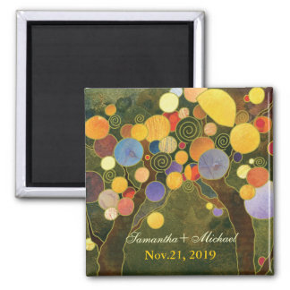 Modern Love Trees in Olive Green Save the Date 2 Inch Square Magnet