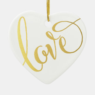 MODERN LOVE TYPE cute script typography cool gold Double-Sided Heart Ceramic Christmas Ornament