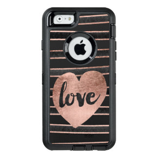 Modern love typography rose gold hearts stripes OtterBox defender iPhone case