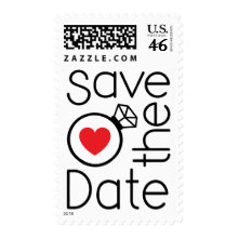 Modern love wedding Save the Date postage stamps