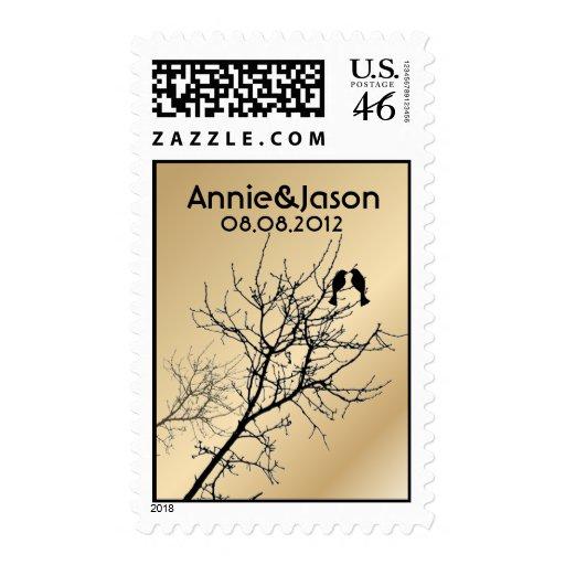 Modern LoveBirds Tree Wedding Announcement Stamps
