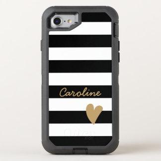 Modern Lovely Heart Decor Black White Striped OtterBox Defender iPhone 7 Case