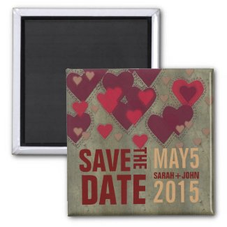 Modern Lovers Red Hearts Save the Date Magnet