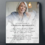 """Modern Loving Memory Marble Photo & Quote Plaque<br><div class=""""desc"""">Pay tribute to a loved one who has passed away with this modern,  elegant tabletop plaque with easel stand featuring black and white marble. Add a photo,  name and quote or other text to create a special keepsake. Makes a lovely gift.</div>"""