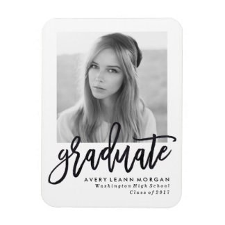 Modern Luxe Graduation Photo Magnet