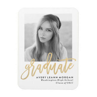 Modern Luxe Graduation Photo Magnet in Gold