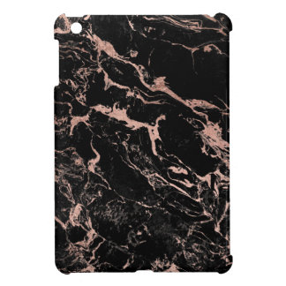 Modern luxurious faux rose gold foil black marble iPad mini case
