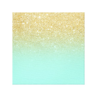 Modern luxurious gold ombre turquoise block canvas print
