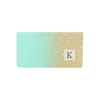 Modern luxurious gold ombre turquoise block checkbook cover