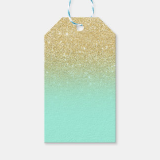 Modern luxurious gold ombre turquoise block gift tags