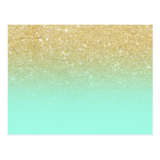 Modern luxurious gold ombre turquoise block postcard