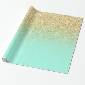 Modern luxurious gold ombre turquoise block wrapping paper