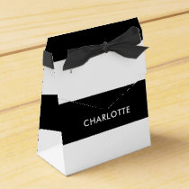 Modern Luxury Black and white stripes pattern Favor Box