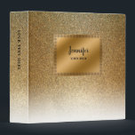 """Modern luxury chic glitter gold personalized binder<br><div class=""""desc"""">Personalized binder with modern gold gradient design. Gold glitter luxury chic golden binder. You can easily change the text.</div>"""