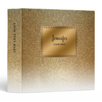 Modern luxury chic glitter gold personalized binder