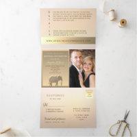 Modern Luxury Elegant Gold Elephant Wedding Photo Tri-Fold Invitation