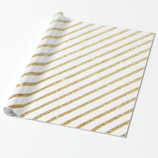 Modern luxury faux glitter gold stripes pattern wrapping paper
