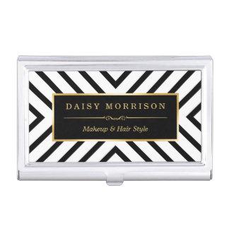 Modern Luxury Gold Black White Stripes Pattern Business Card Case