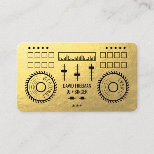 Modern luxury gold foil black dj music turntable business card