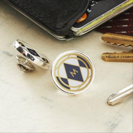 Modern Luxury Navy Blue Gold Stripe Monogram Round Lapel Pin
