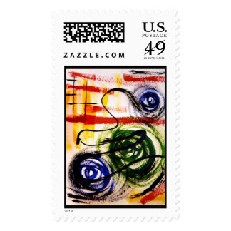 Modern Machinery Abstract Painting Stamp