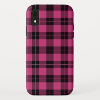 Modern Magenta Black Plaid Pattern iPhone XR Case