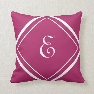 Modern Magenta Girly Script Monogram Throw Pillow