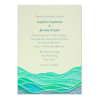 Modern Magical Ocean Waves Seaside Wedding Card