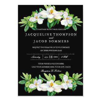 Modern Magnolia Blossom Floral Wreath Watercolor Card