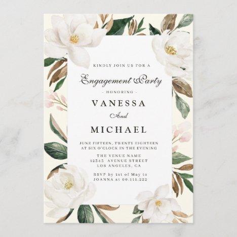 modern magnolia engagement party invitation
